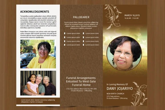 Trifold Funeral program template Obituary program template Etsy