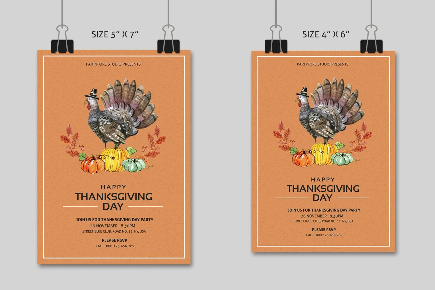 Thanksgiving Party Flyer Template Printable Thanksgiving Day Etsy