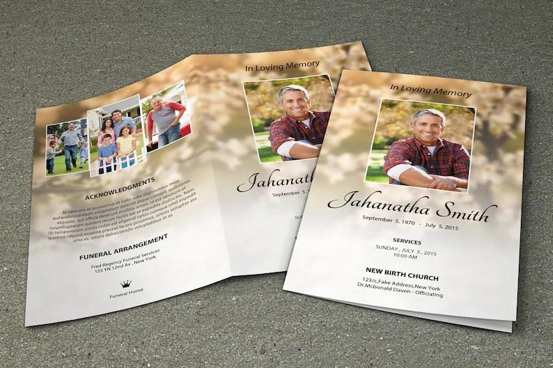 Printable Funeral Program Template Memorial Program Template Etsy