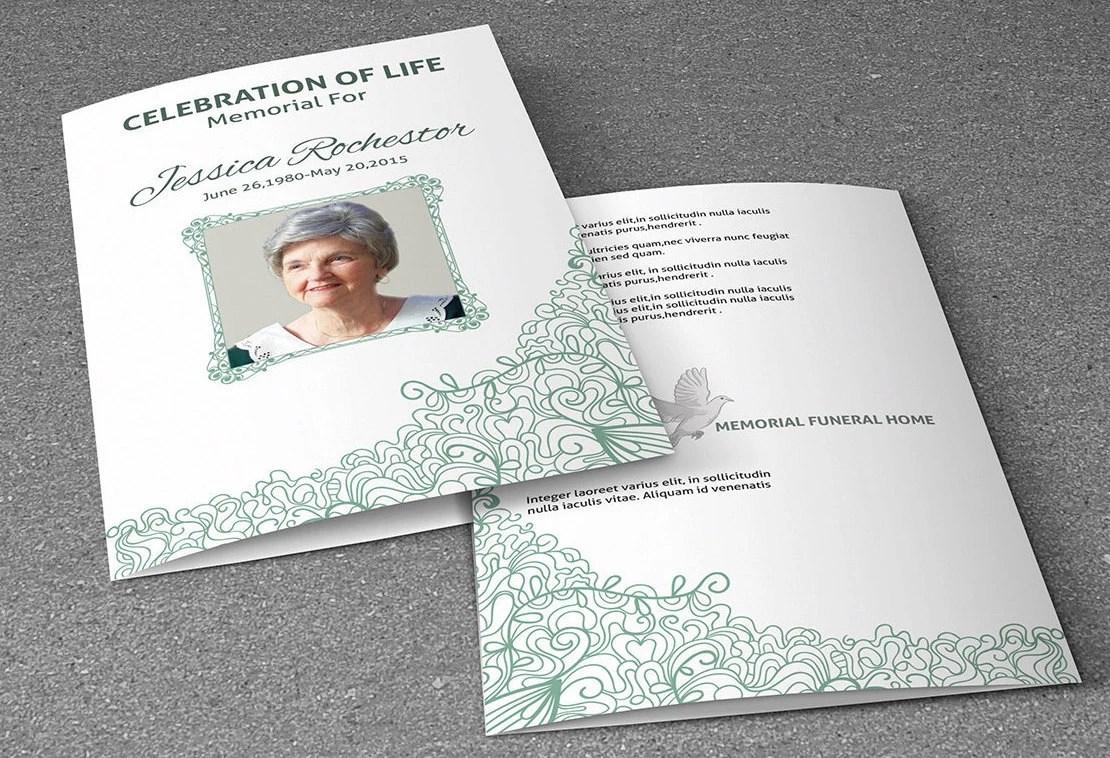 Printable Funeral Program Template Memorial Program Etsy