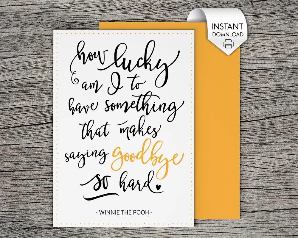 Printable Farewell Card /Printable Goodbye Card How lucky am Etsy