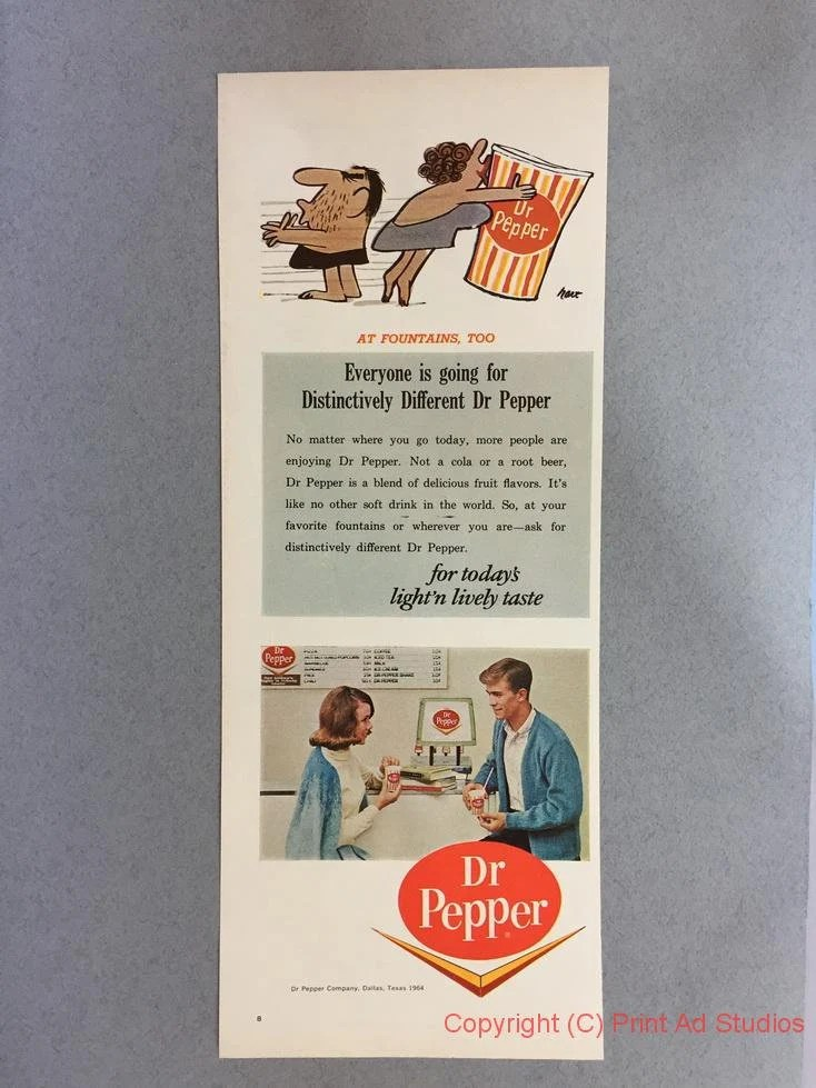 1964 Lot of 2 Dr Pepper 1/2 Page Print Ads Vintage Soft Etsy