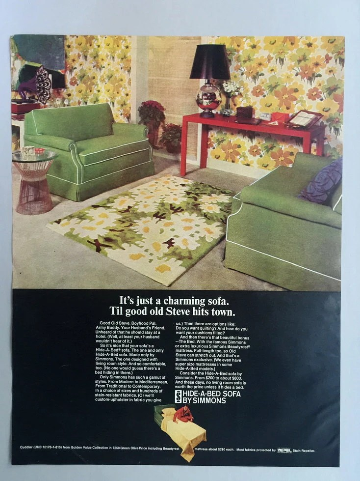 Sofa Vintage A Vendre 1968 Simmons Hide A Bed Sofa Print Ad