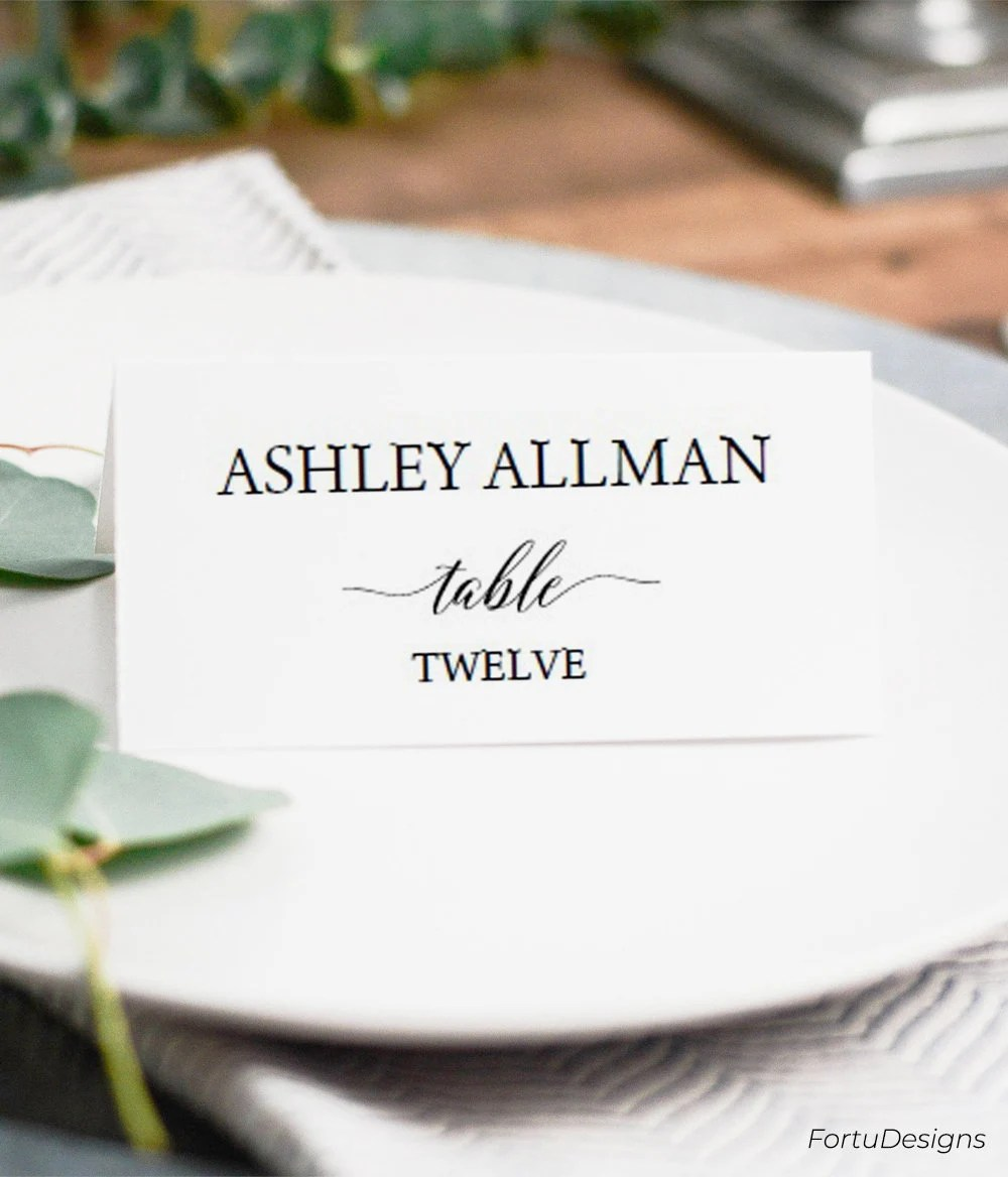 Place card template Folded place cards wedding Flat place - folded place card templates