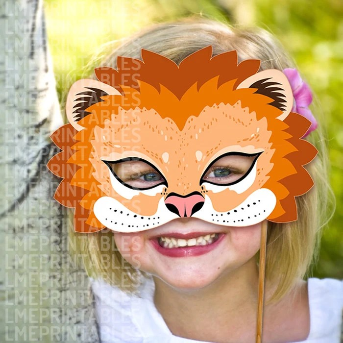 Lion Mask Printable Animal Masks Childrens Party PDF Halloween Etsy