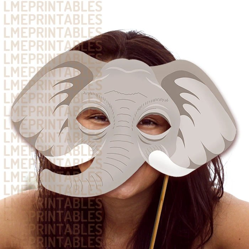 Elephant Printable Mask Gray DIY Safari Jungle Animal Masks Etsy