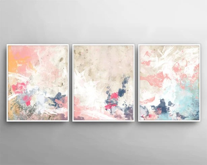 Modern Wall Art Set of 3 Painting Canvas Art 3 Canvas Etsy