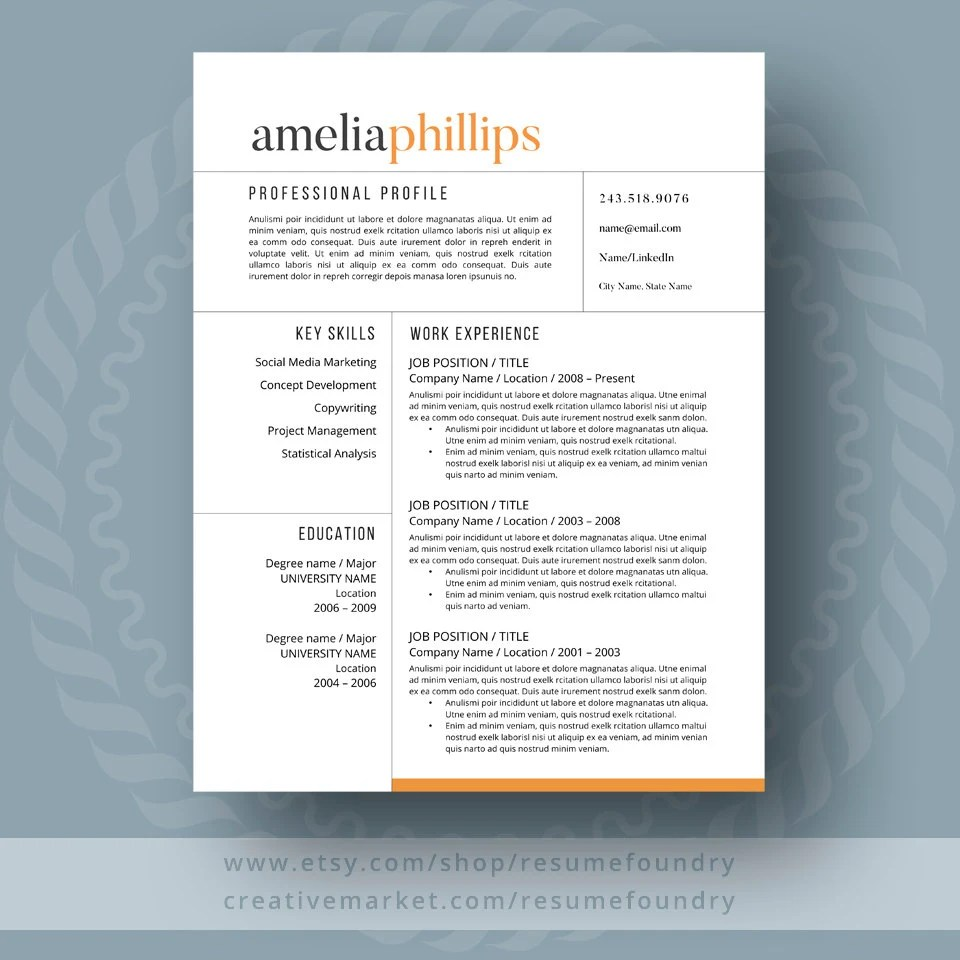 Modern Resume Template for Word 1-3 Page Resume Cover Etsy