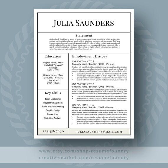 Classic Resume Template for Word 1-3 Page Resume Cover Etsy