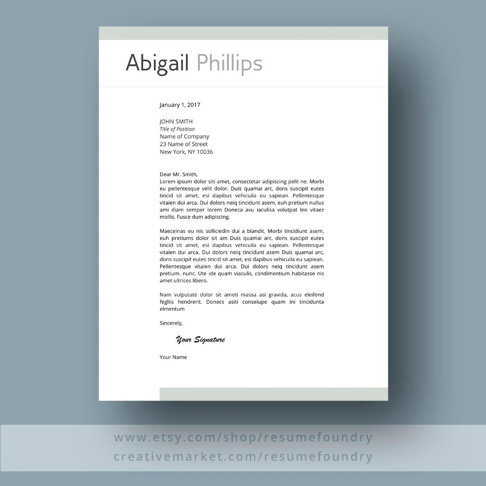 Professional Resume Template for Word 1-3 Page Resume Cover Etsy