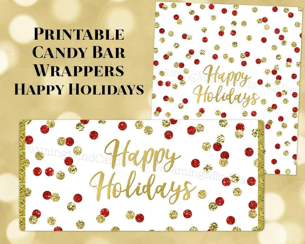 Printable Happy Holiday Candy Bar Wrapper Labels Christmas Red Etsy