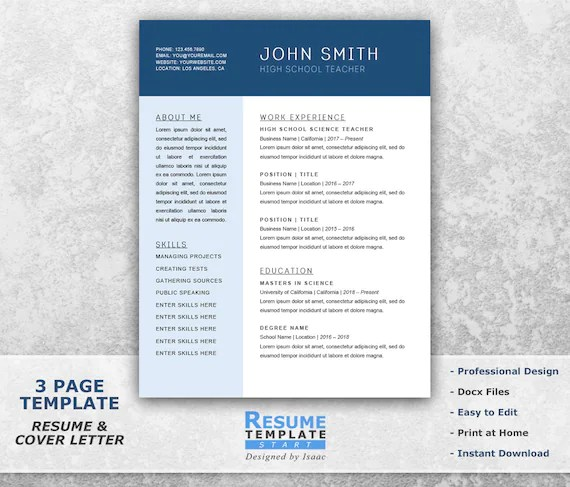 Chronological Resume Template Word Combination Resume Etsy - Chronological Resume Template Word