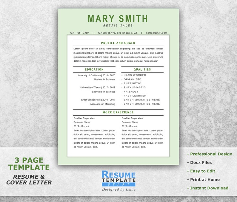 Retail Resume Template Word Sales Resume Template for Word Etsy