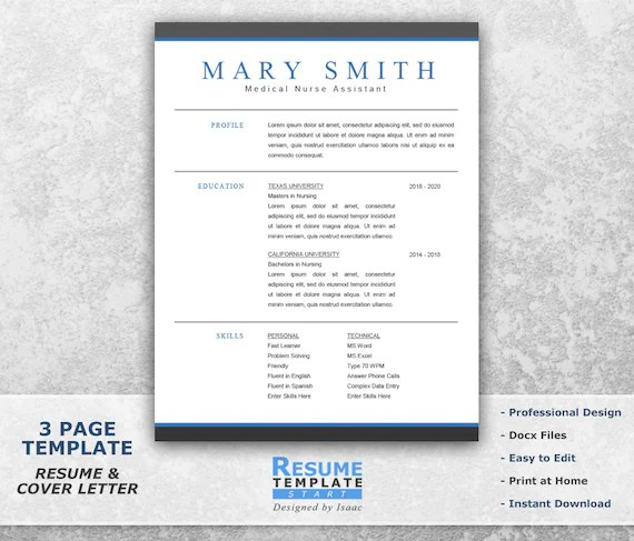 Medical Resume Template Word Professional Resume Template Etsy