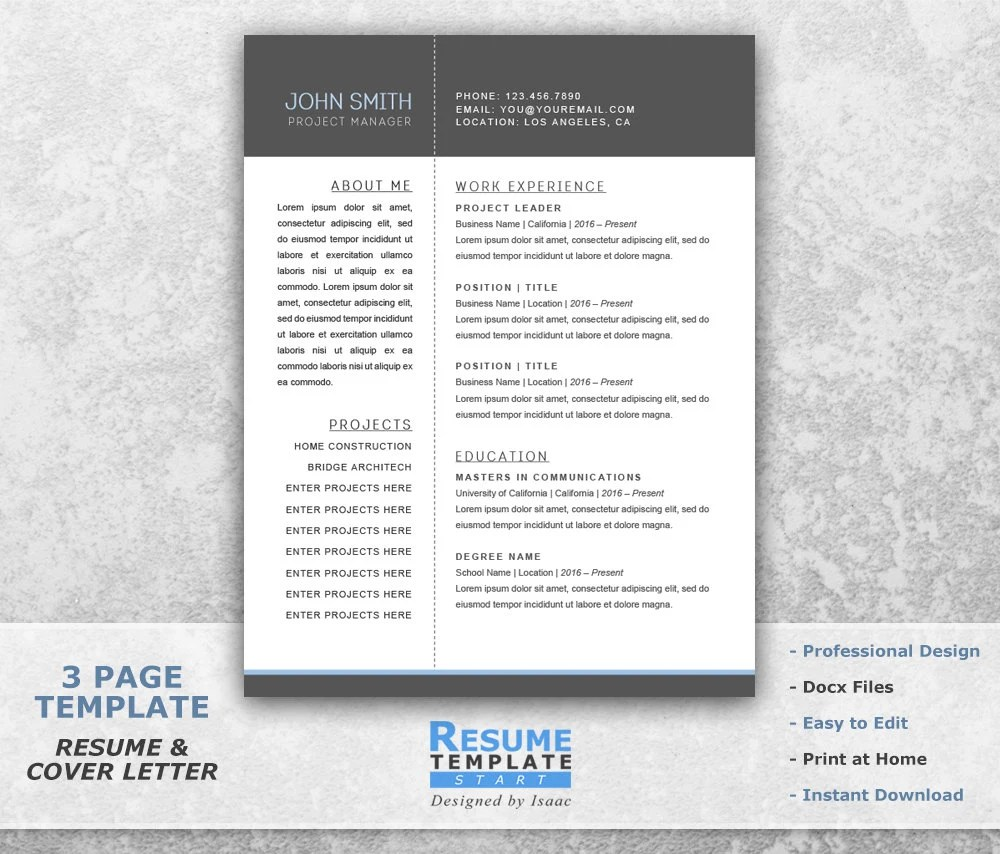 Resume Templates Word Project Manager Resume Template Word Etsy