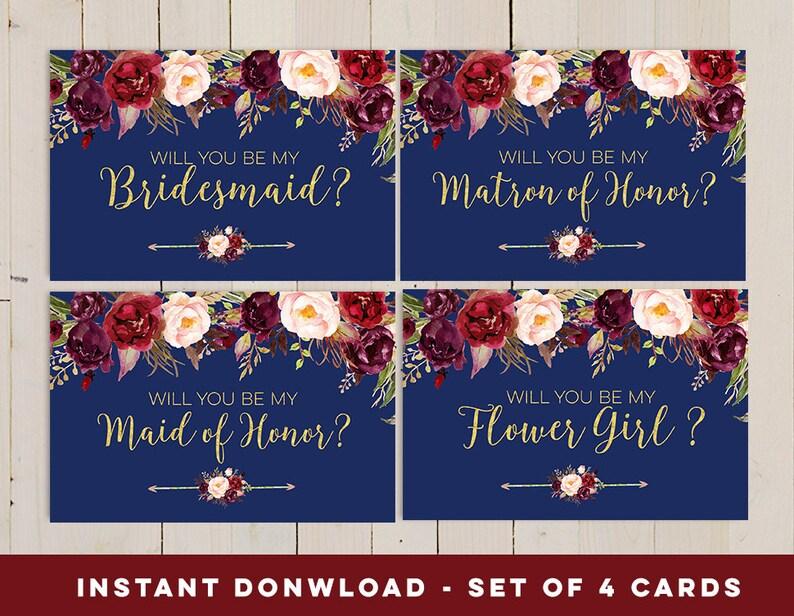 Navy Will You Be My Bridesmaid printable set Bridesmaid card Etsy