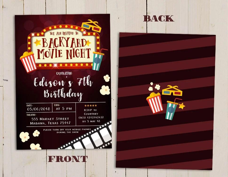 Kid\u0027s movie birthday party invitation movie night Etsy