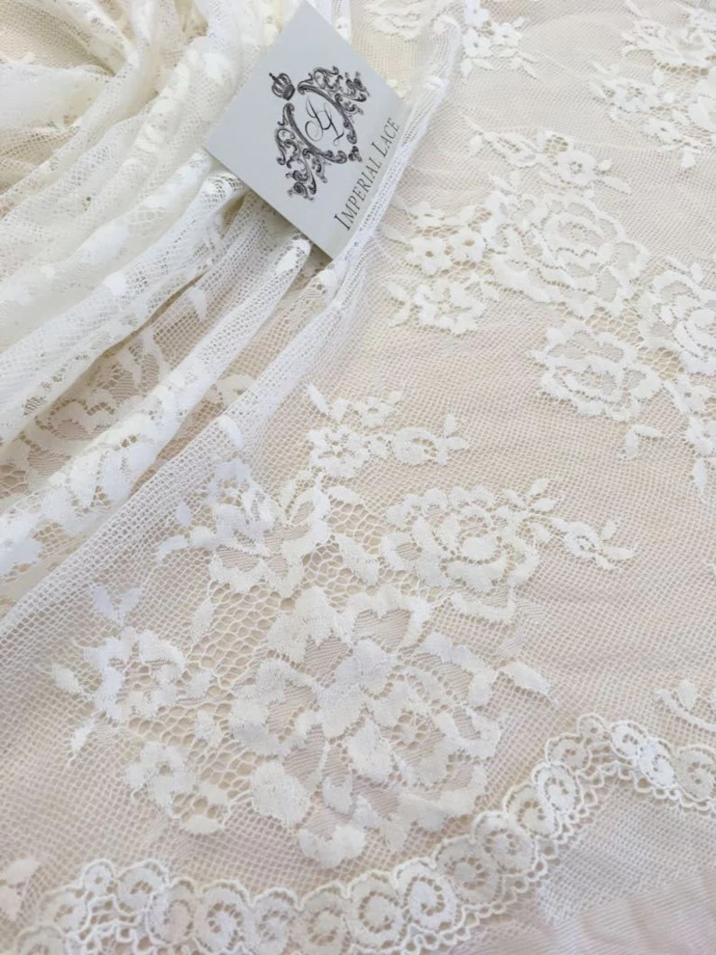 Stoff Spitze Ivory With Off White Net Lace Fabric Spitze Stoff Ivory Chantilly Lace Fabric White Lace French Lace Soft Lace B00169