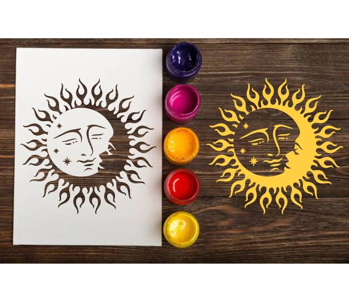 Sun and Moon custom stencil for wall Reusable celestial template for  painting, Small and Large sizes