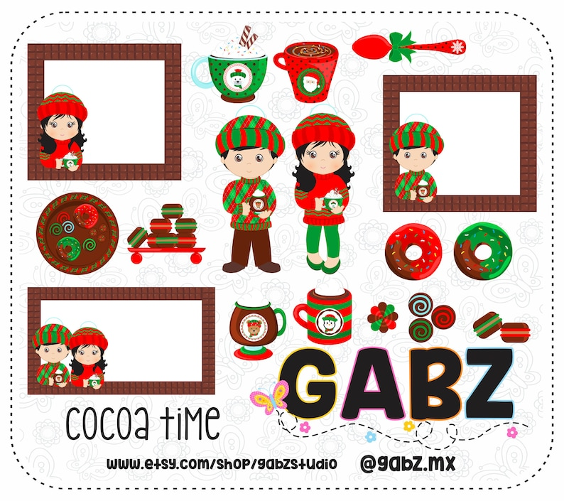 Cocoa Time Clipart Chocolate Cups Kids Holidays Merry Etsy