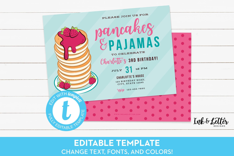 Pancakes and Pajamas Invitation Pancake Birthday Invitation Etsy