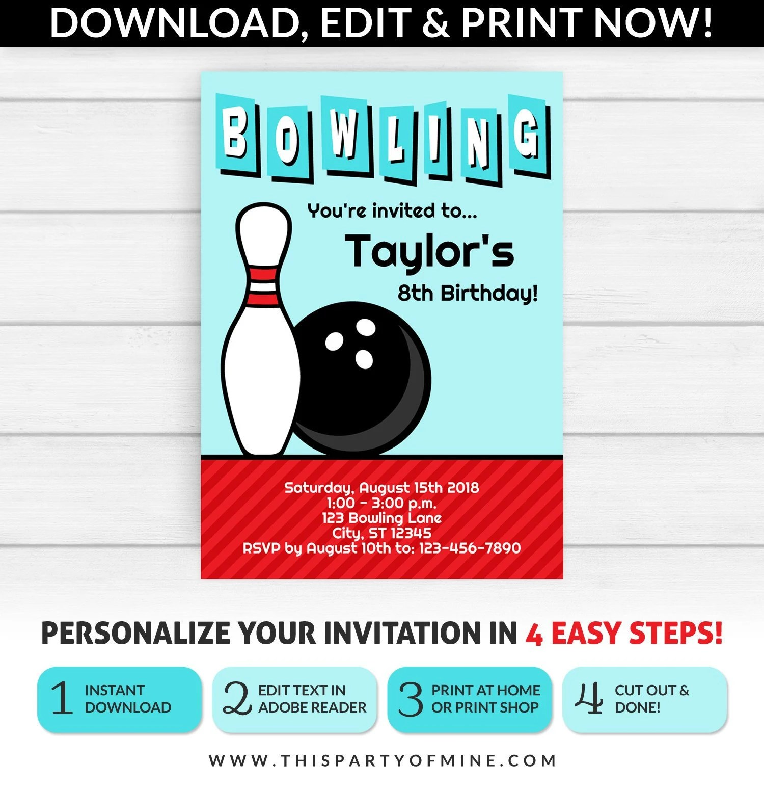 Bowling Invitation Bowling Party Invitation Bowling Etsy
