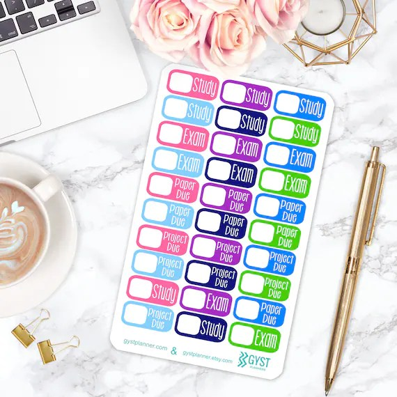 College Stickers / College Planner Stickers / Fits Erin Condren Planners,  Happy Planners  more! / Calendar Stickers