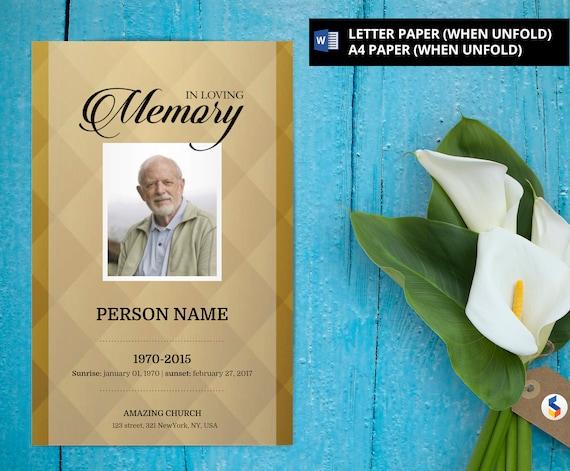 GOLDEN BACKGROUND Funeral Program Template Obituary Etsy