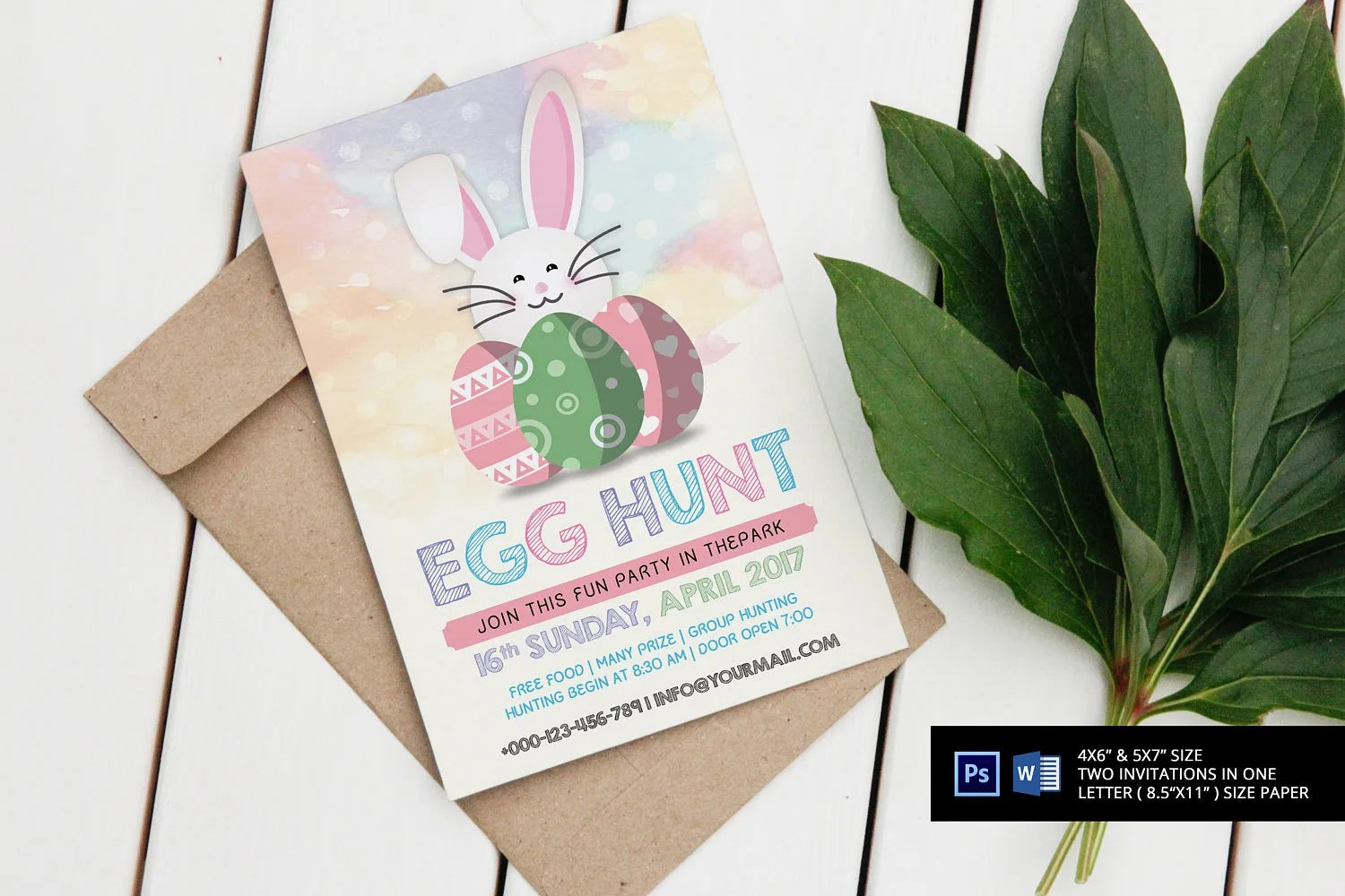 Watercolor Easter Party Invitation Template Instant Download Etsy