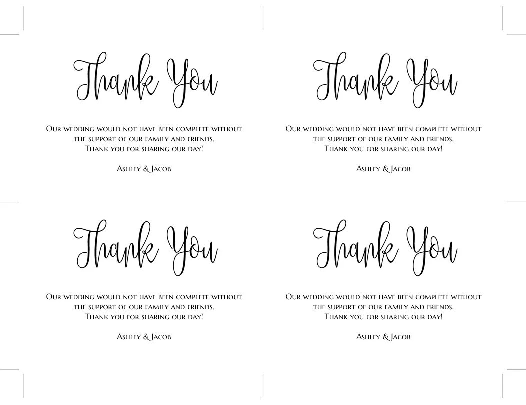 Thank you cards template Black and white wedding Thank you Etsy
