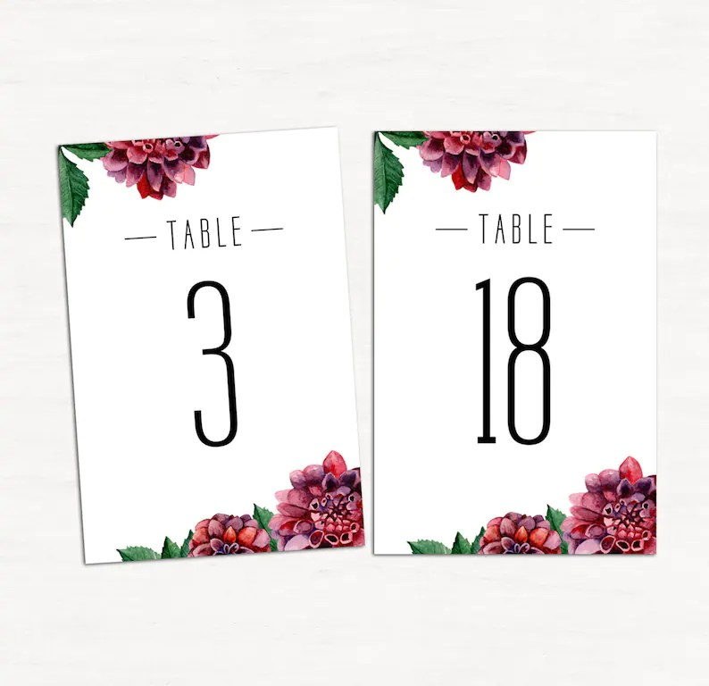 Floral table numbers pdf Burgundy wedding table cards Etsy