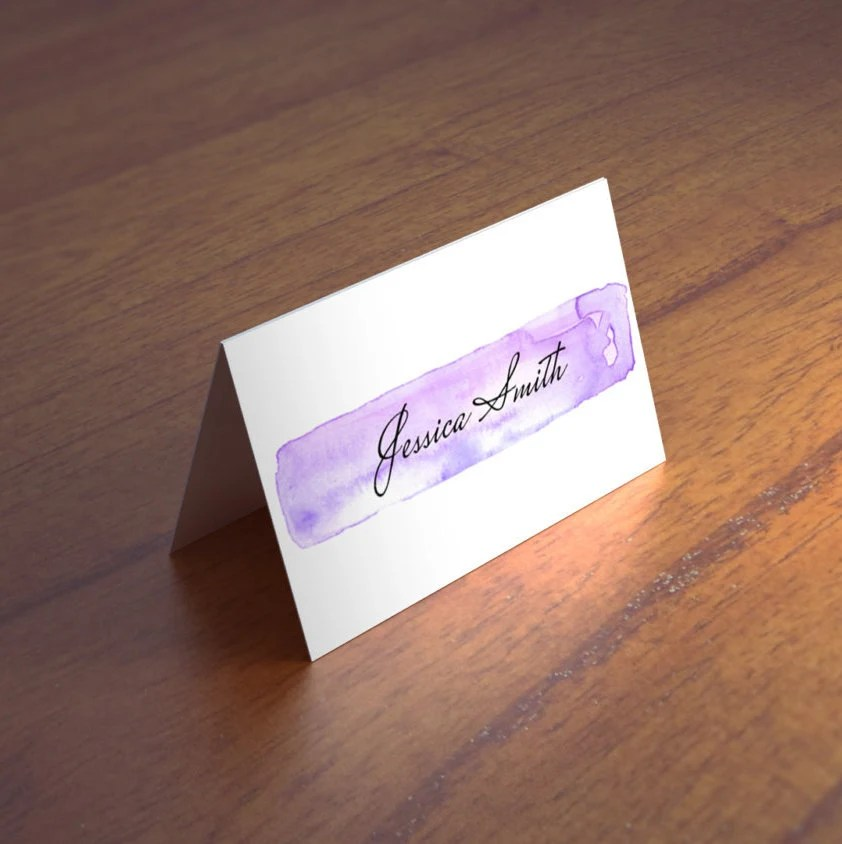Modern wedding place cards template Purple guest cards Etsy