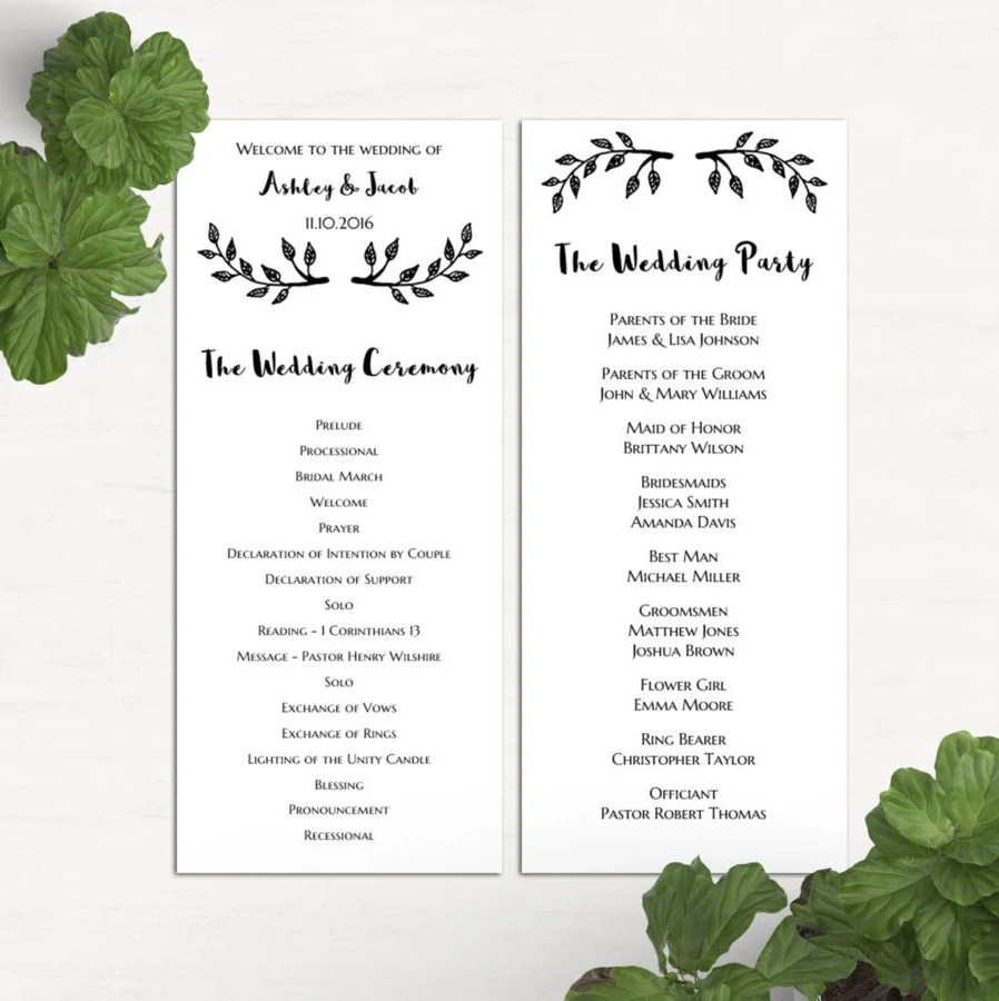 Simple wedding program template Black and white ceremony Etsy