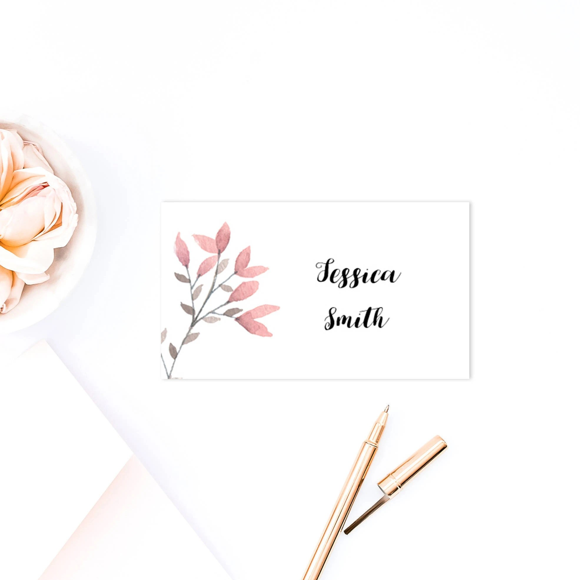 Pink wedding place cards template Spring name cards printable Etsy