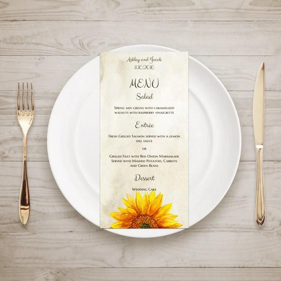 Rustic menu sunflower Country wedding menu template Rustic Etsy