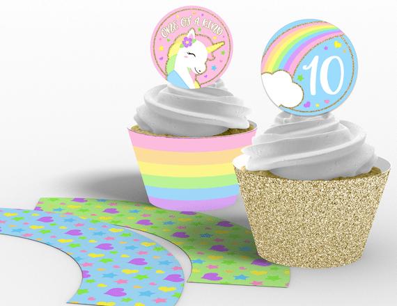 Printable Girl\u0027s Unicorn Cupcake Toppers and Wrappers, Rainbow
