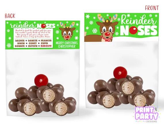 Printable Christmas Reindeer Noses Treat Bag Toppers, Kid\u0027s