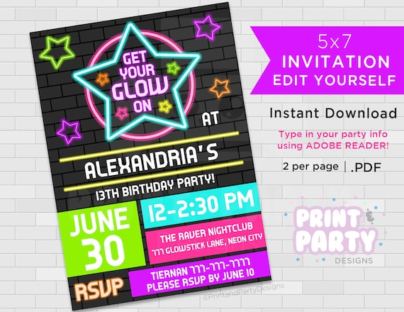 Printable Blacklight Neon Birthday Party Invitations, Teen Glow
