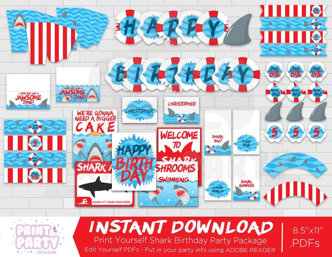 Printable Boy\u0027s Shark Birthday Party Decorations, Shark Week