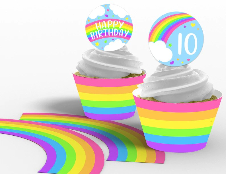 Printable Rainbow Cupcake Toppers and Wrappers Rainbow Etsy