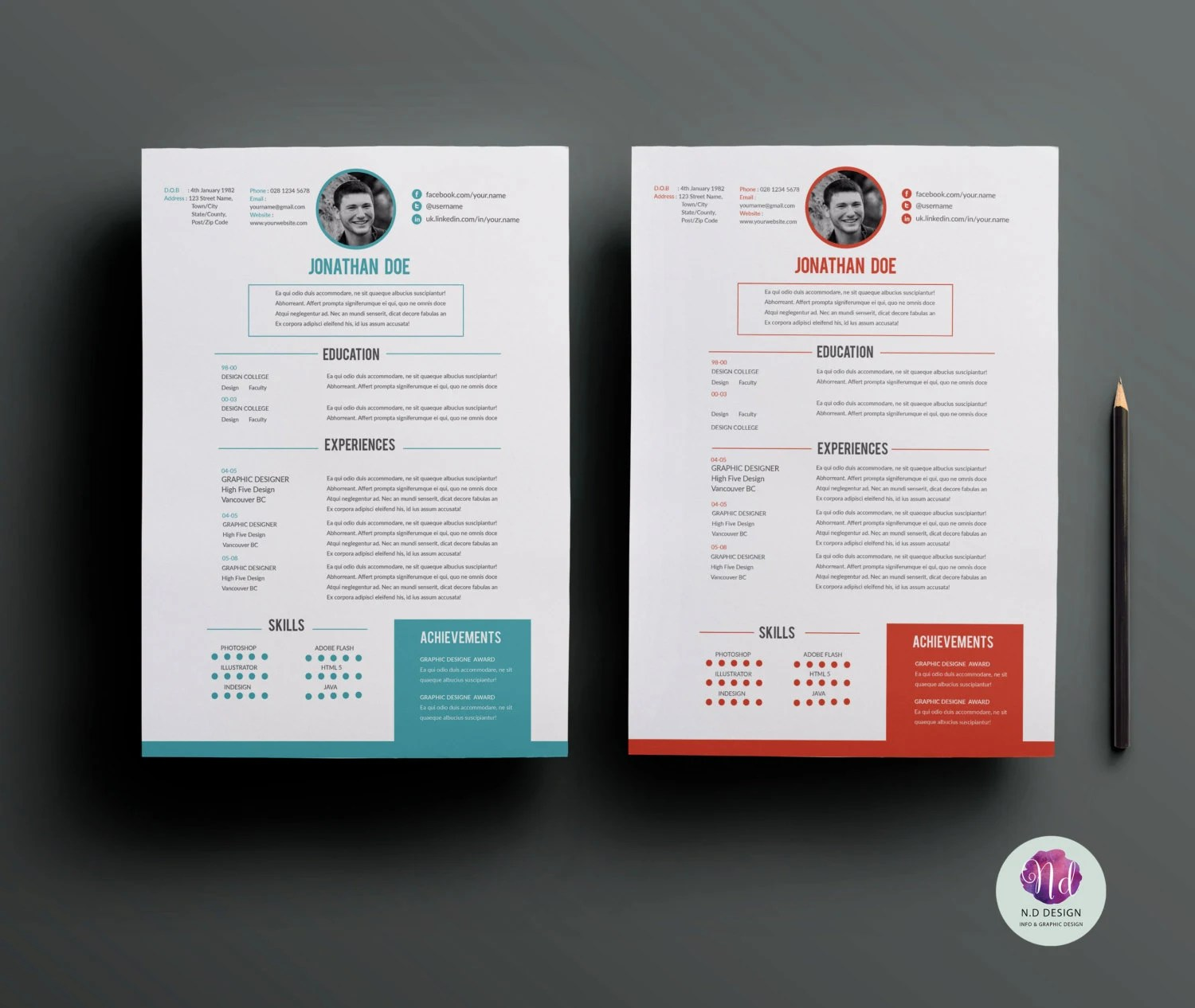 Resume template cover letter template  reference letter Etsy