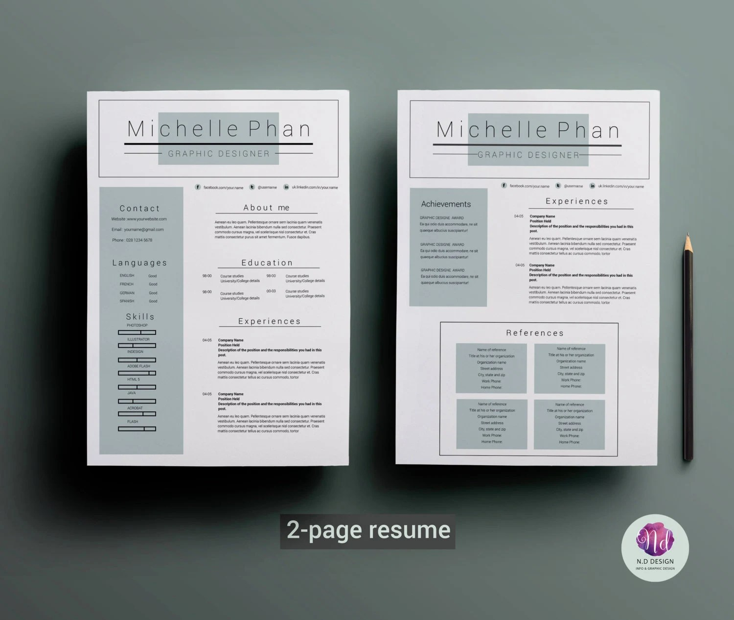 2-page resume template/cover letter/CV template/word resume Etsy