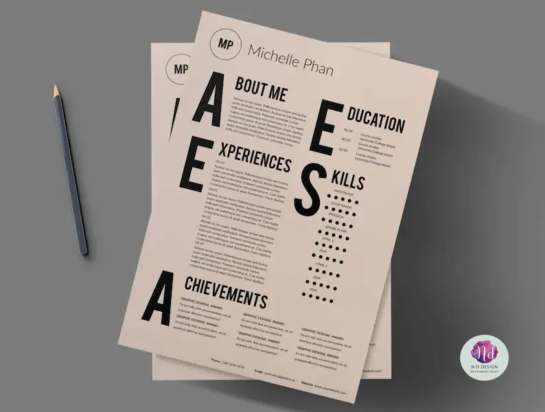 Resume template/ cover letter template/minimal resume/1 page Etsy