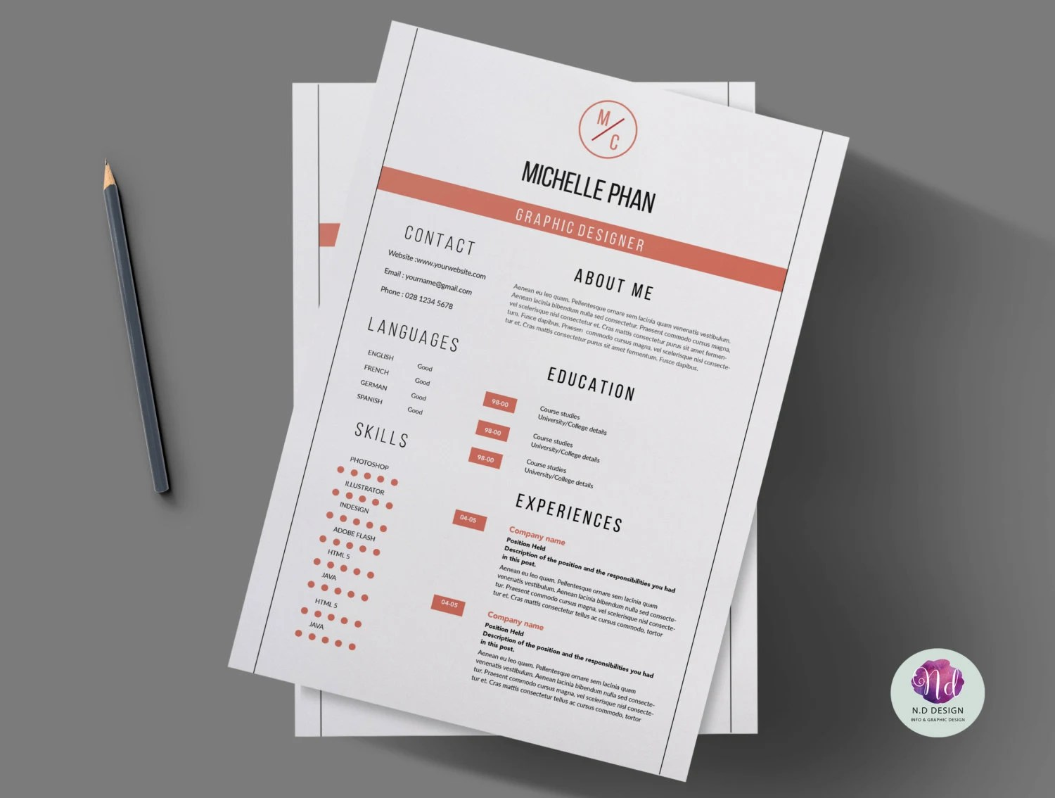 Modern 2 page CV template cover letter template reference Etsy