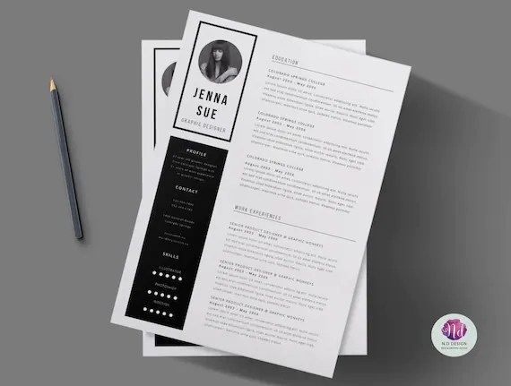 Black  white 2 page CV template cover letter / Minimal Etsy