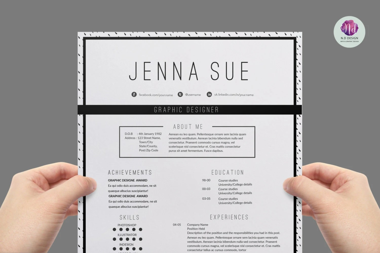 Modern resume template ink dot background cover letter Etsy