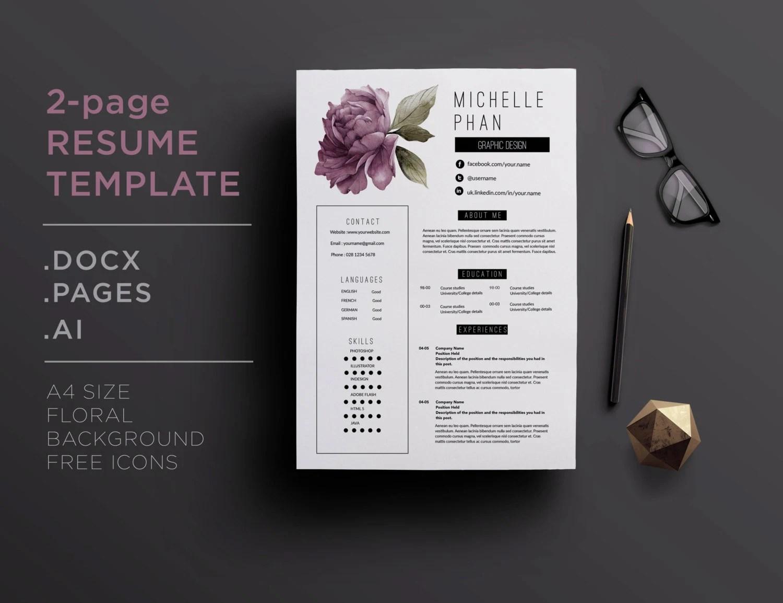 Elegant 2 page CV template / 2 page resume violet floral Etsy