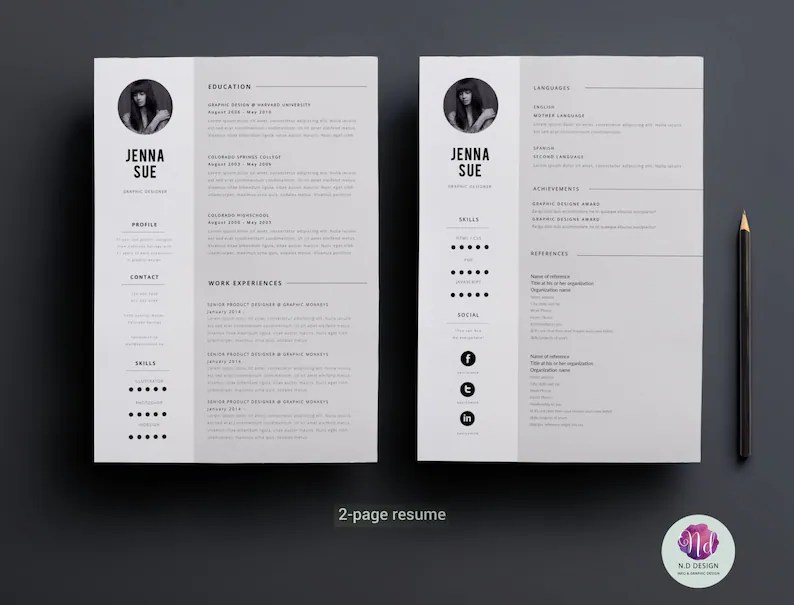 Minimal 2 page resume design / 2 page CV template cover Etsy