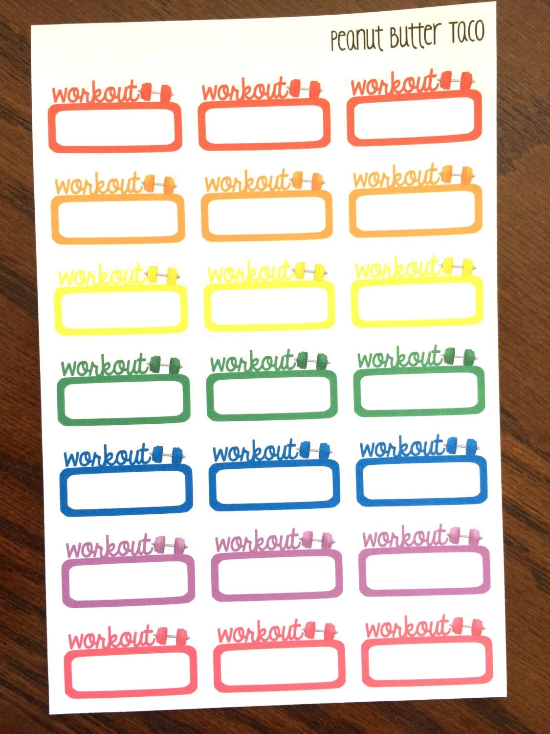 Workout Planner Stickers Exercise Stickers Gym Planner Etsy