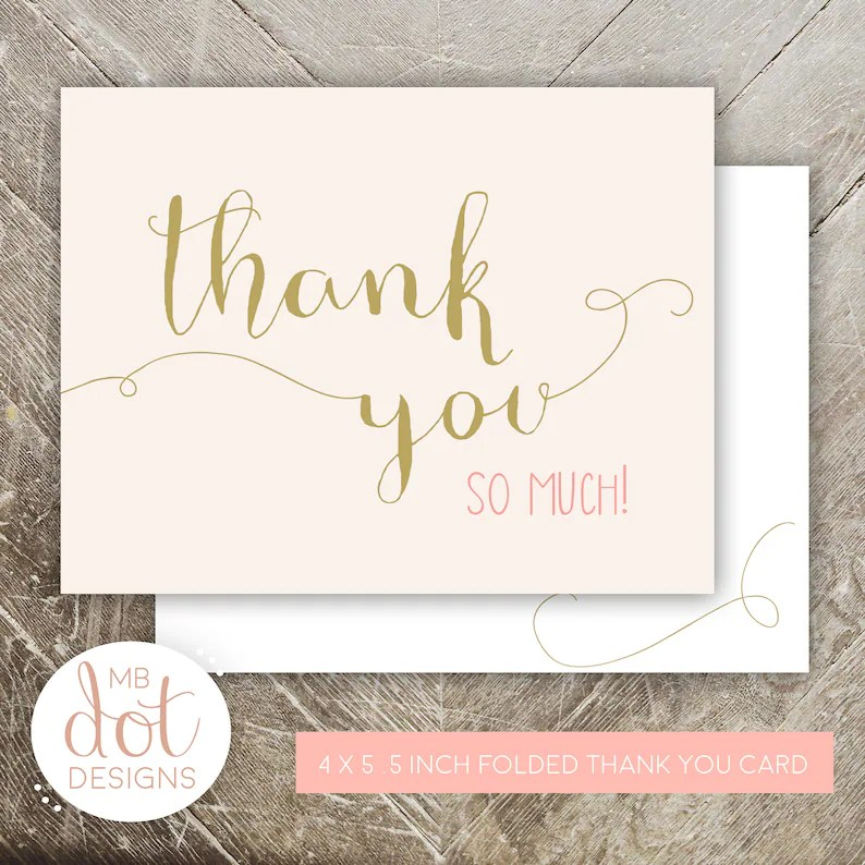 Once Upon a Time Folded Thank You Cards Formatted for Etsy